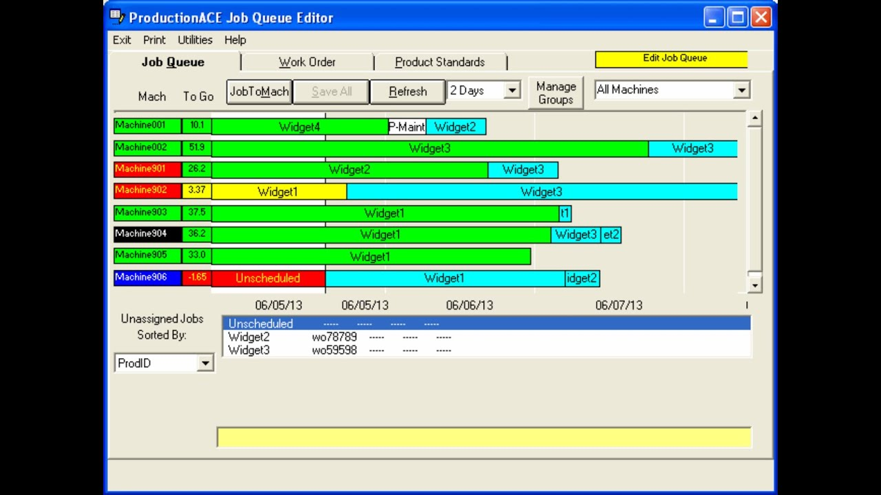Graphical production scheduling and production planning for Software planner