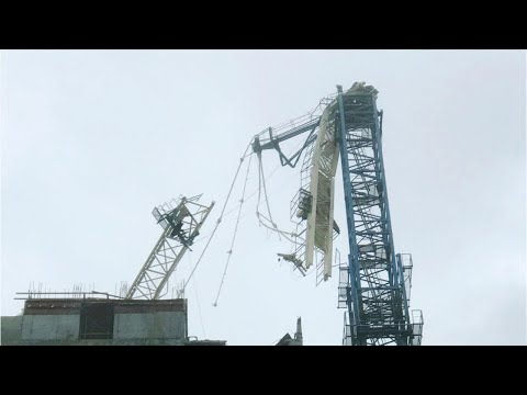 Cranes Collapse In Miami In Hurricane Irma Winds