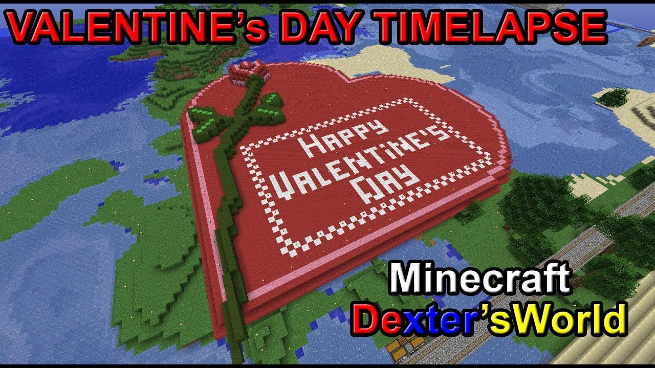 Minecraft Valentines Day Timelapse   YouTube