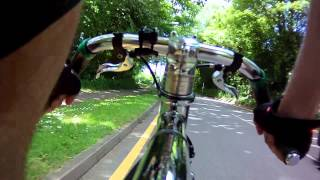 Cycling my Cooper Spa T100 on School Road Arborfield to Beyonce