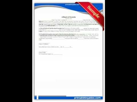 Free Printable Affidavit Of Domicile Forms