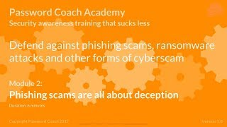 Password Coach Academy - Module 2 – Phishing scams are all about deception