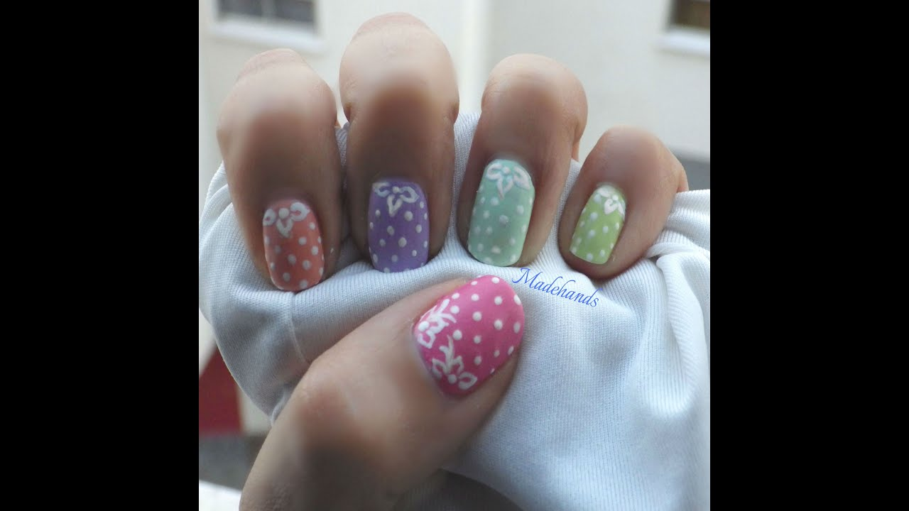 uñas mate con lunares!!nail art polka dots for begginers!! - YouTube