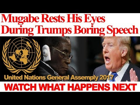 """WATCH; Mugabe """"Rests His Eyes"""" 💤😪 During Trump Speech,🎤 United Nations General Assembly 2017"""