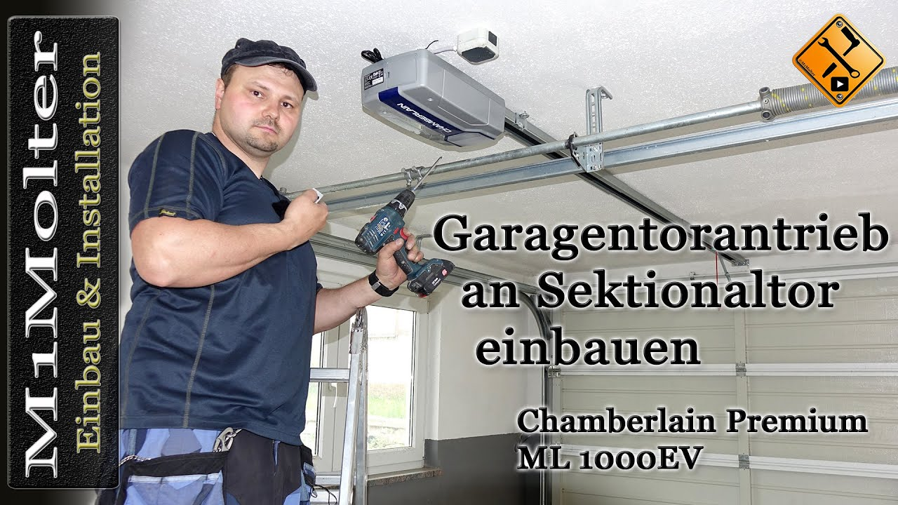 garagentorantrieb an sektionaltor einbauen chamberlain premium ml 1000ev m1molter youtube. Black Bedroom Furniture Sets. Home Design Ideas