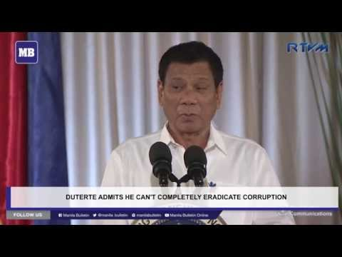 Duterte admits he can't completely eradicate corruption