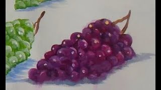 4 EASY Steps to Painting PURPLE GRAPES with Acrylic Paint for the beginner, step by step,and  tips