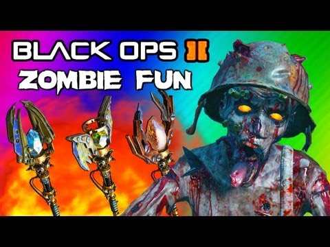 Black Ops 2 Origins Zombies Funny Moments 2  Staffs Upgraded FUN! Ice, Fire, Lightning, Wind