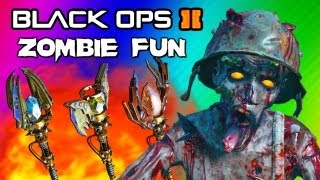 Black Ops 2 Origins Zombies Funny Moments 2 - Staffs Upgraded FUN! (Ice, Fire, Lightning, Wind)