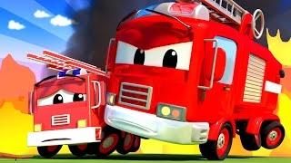 Baby Cars -  Franck the FIRETRUCK and Baby Franck are Putting out a FIRE at School! Cartoon for kids