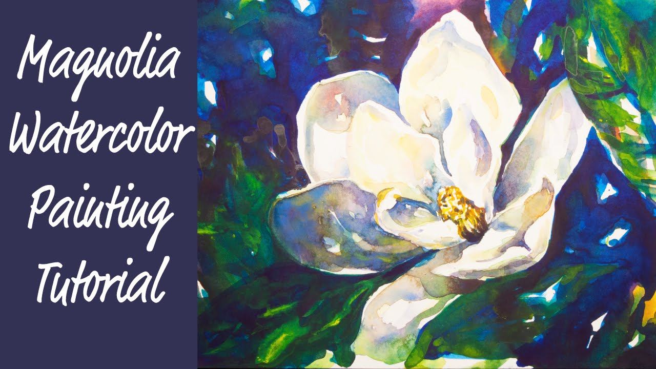 Magnolia flower watercolor painting tutorial youtube for How to paint a portrait in watercolor
