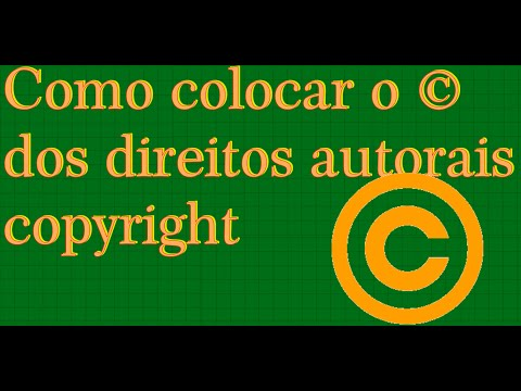 Como digitar  o C ©  dos direitos autorais copyright