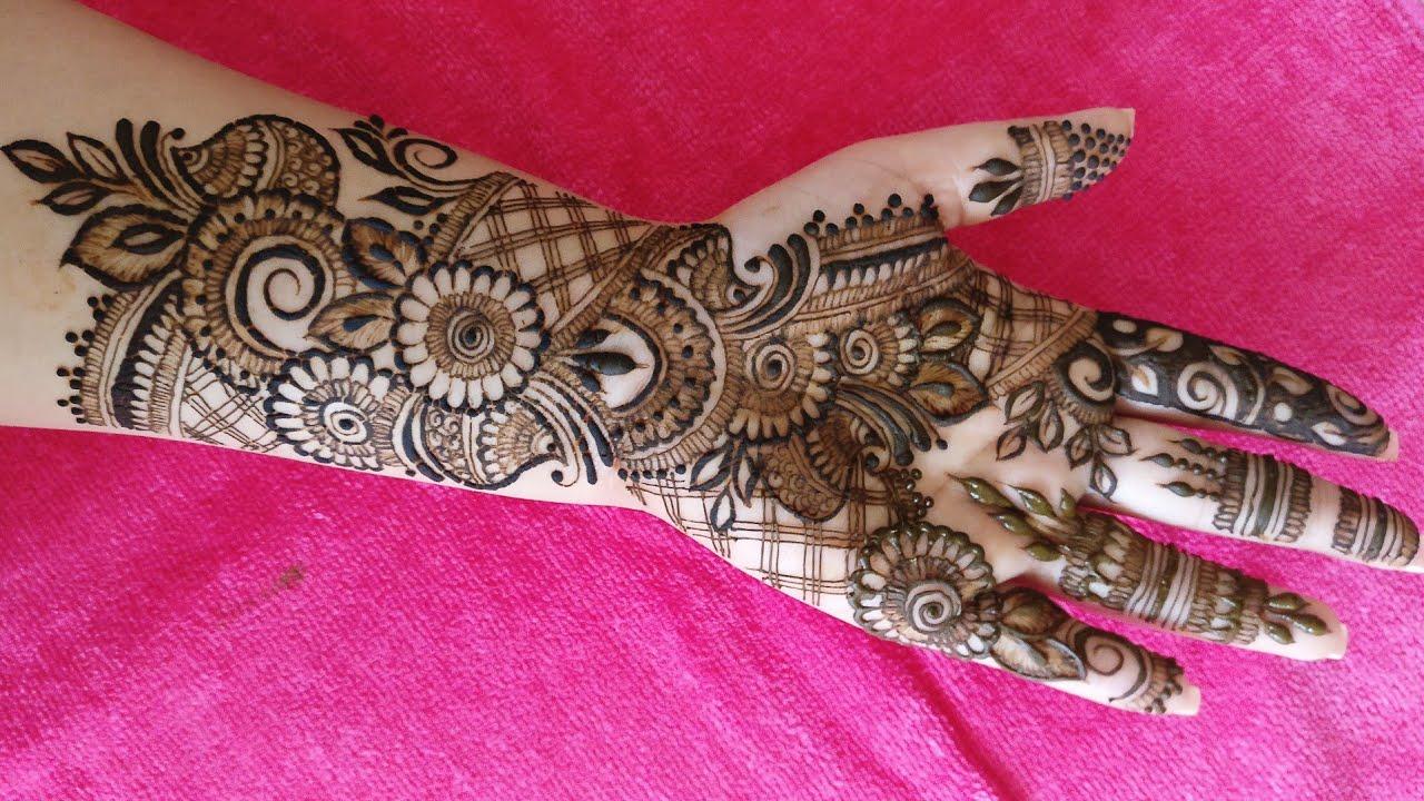 mehendi design front hand bridal
