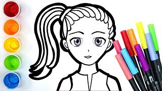 Colouring pony tail girl with paint and glitter, learn drawing and colouring for kids 💛
