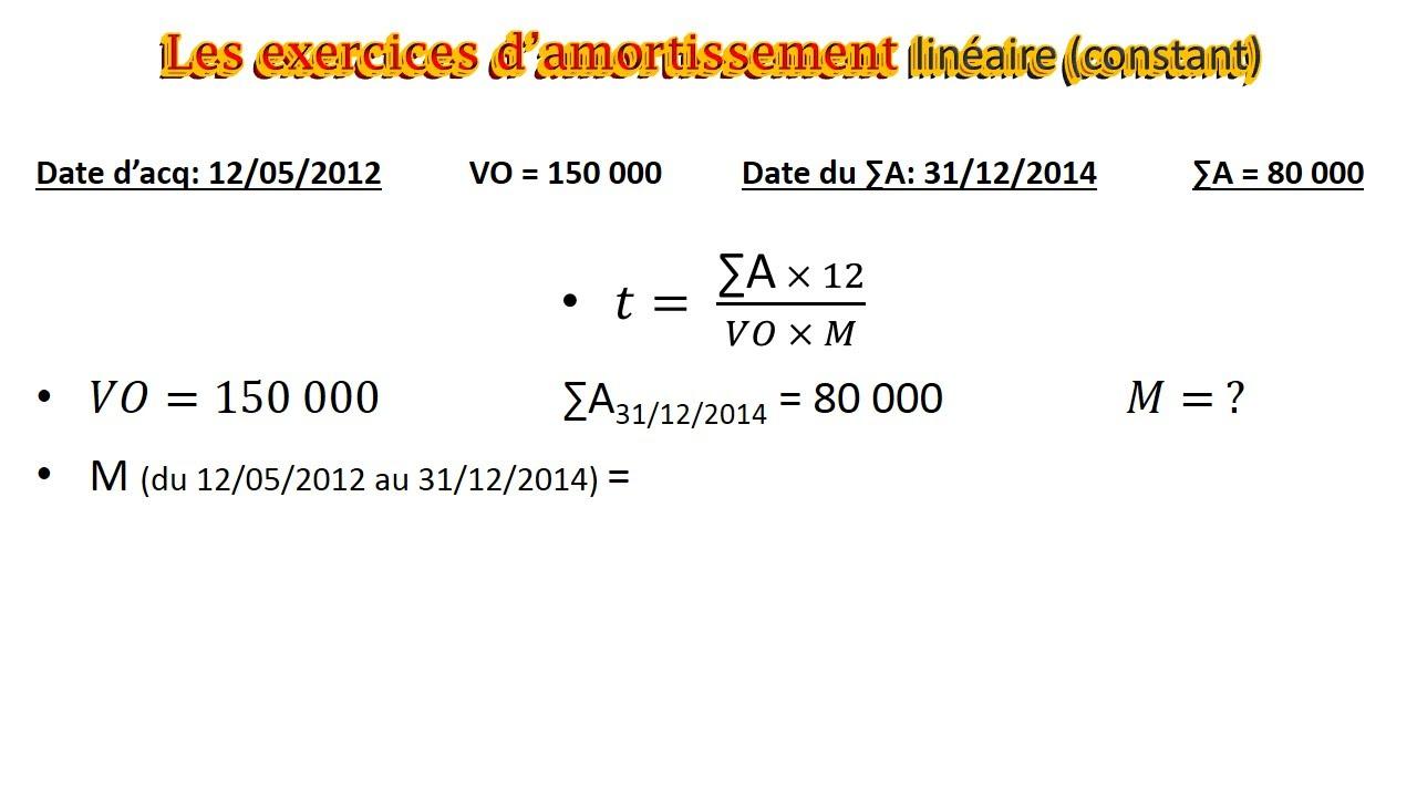 Amortissement 13: exercice 9 -Les systèmes d'amort (Amort linéaire constant) ( comptabilité ...