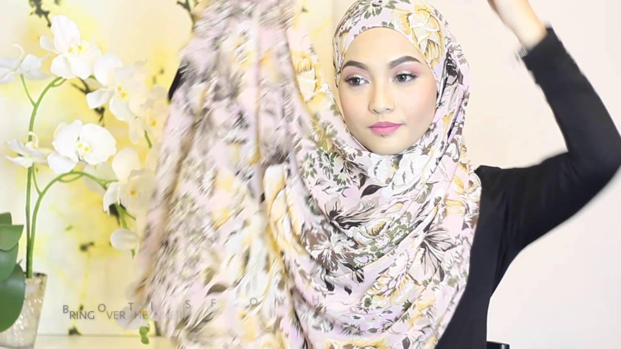 Sufyaa Hijab Tutorial Beautiful Bloom Print Chiffon Shawl Youtube