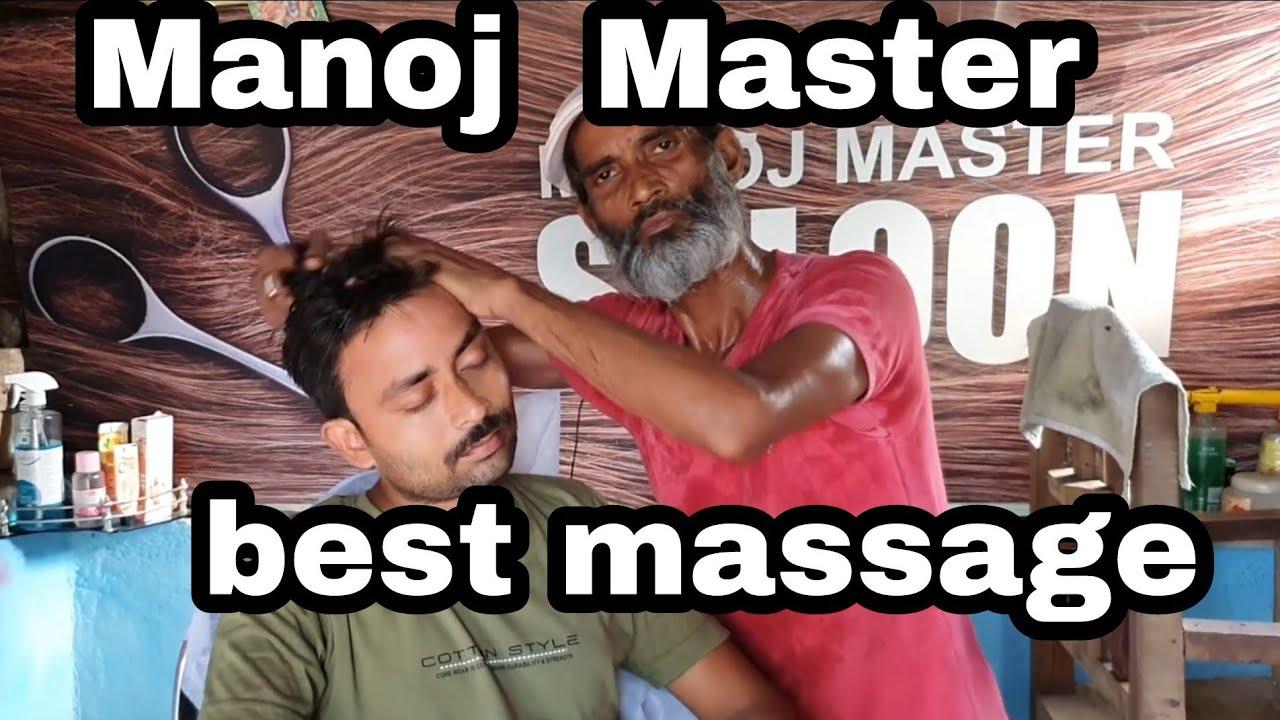 Head massage💈back body massage with neck cracking  by Indian legendary barber  Manoj Master //asmr