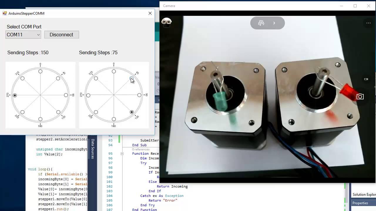 Arduino afmotor accelstepper visualbasic serial coms
