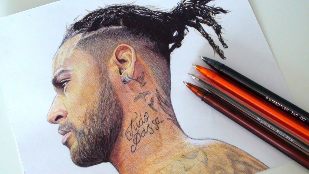 Neymar Jr Drawing New Hair Style 2018 Youtube