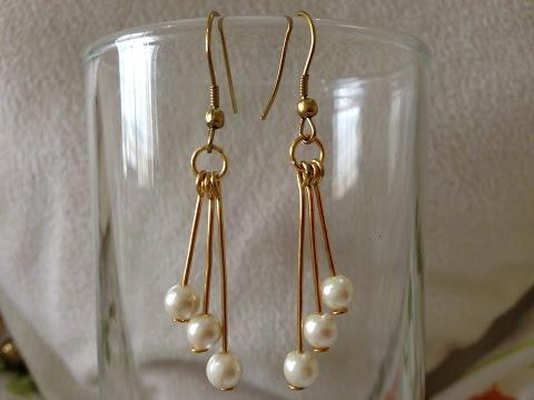 DIY easy  pearl earring tutorial | How to make | jewellery making | Beads art