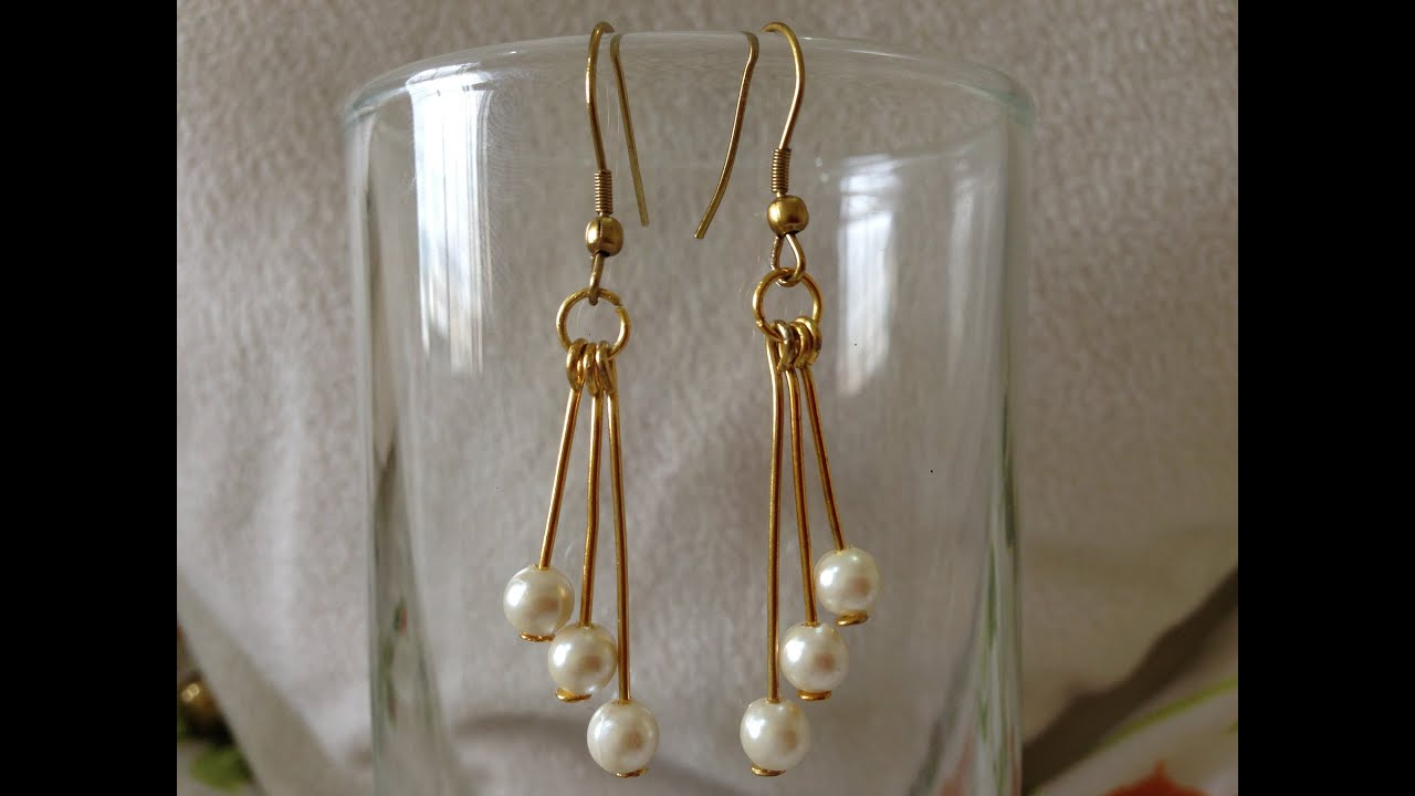 Diy Easy Pearl Earring Tutorial How To Make Jewellery Making Beads Art You