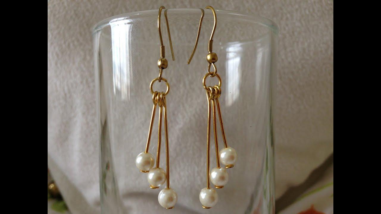 DIY easy pearl earring tutorial | How to make | jewellery ...