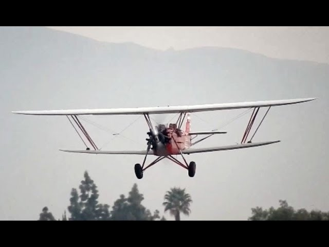 Flight in New Standard D-25 Biplane Cable Airport Airshow 2014