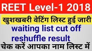 REET Level 1 Waiting List Released 2018 | reet level 1 waiting list cut off 2018