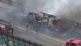Vehicle Fire On Ambassador Bridge Between Detroit And Windsor, Ontario, Canada