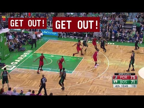 "Brad Stevens calling the play on the floor, telling Daniel Theis to ""get out"""
