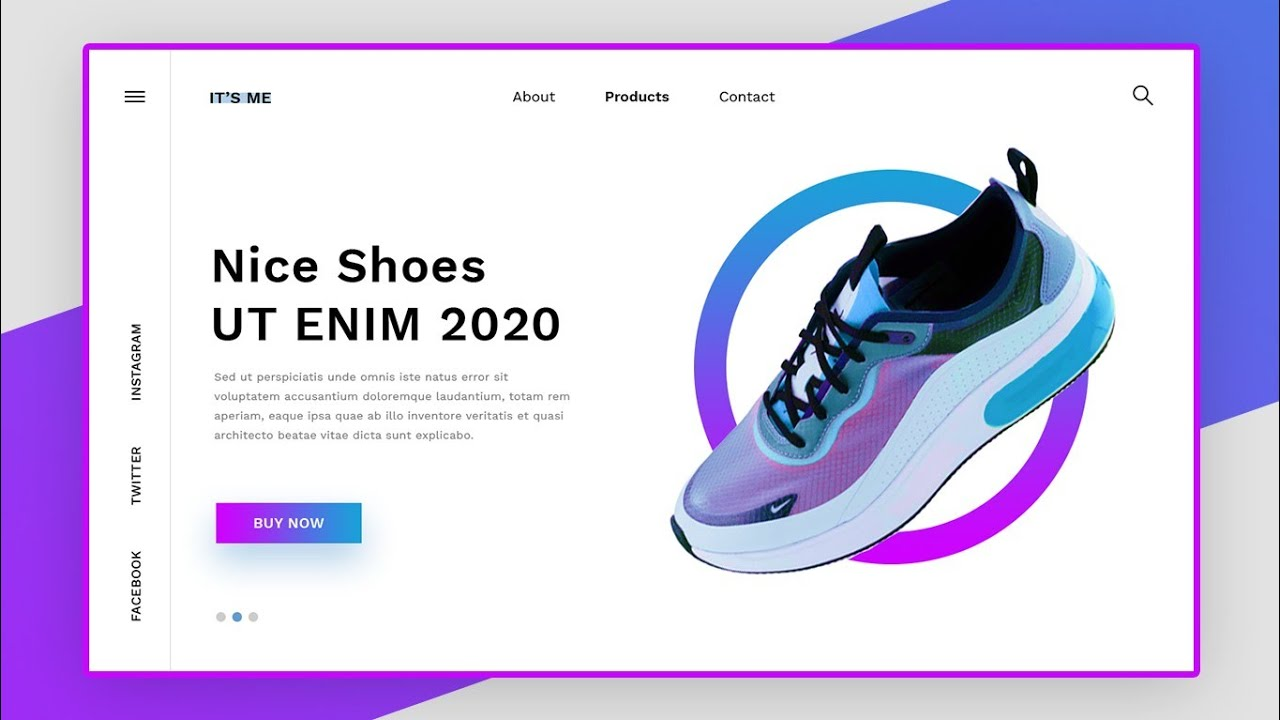 Design UI Landing Pages Using HTML, CSS, ANIME JS |  Shoes Website design tutorial