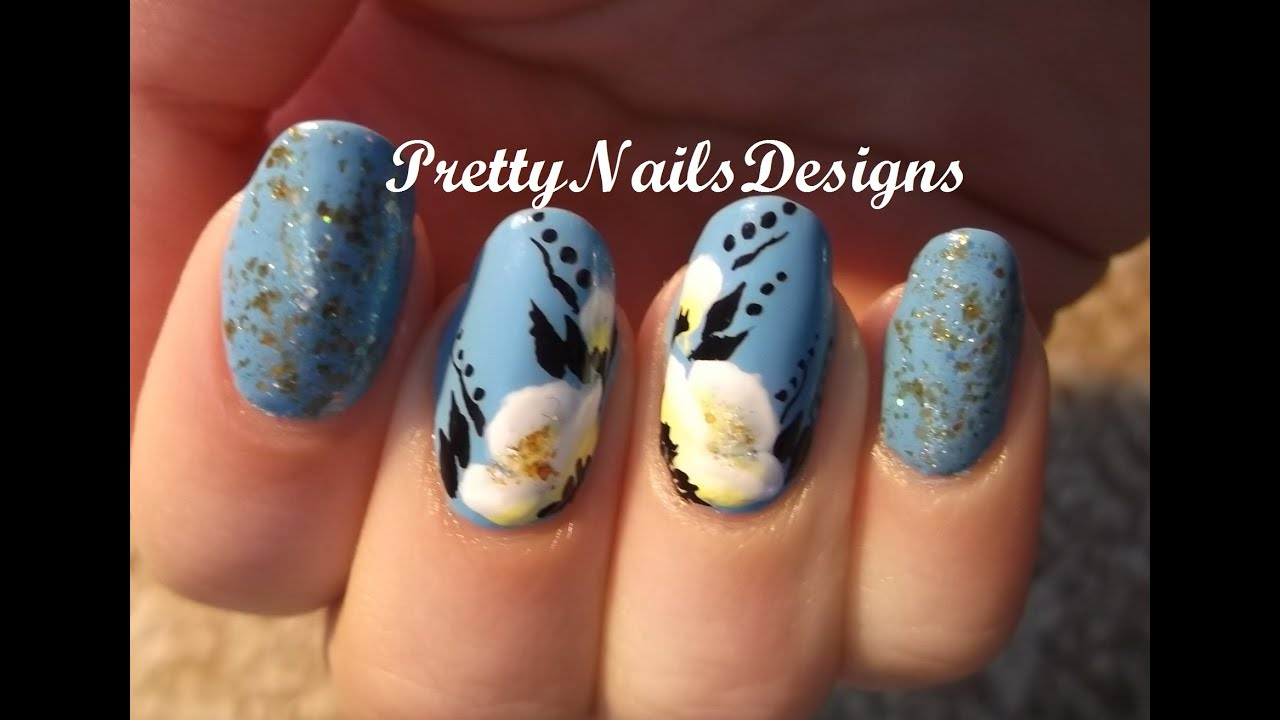 Yellow And White One Stroke Flowers On Blue Polish Spring Nail Art