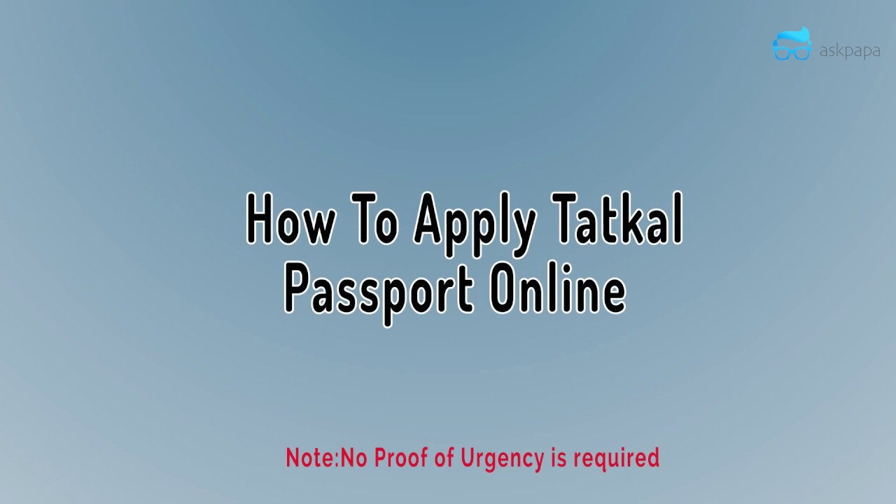 How To Apply Passport In Tatkal Shortest Video Youtube