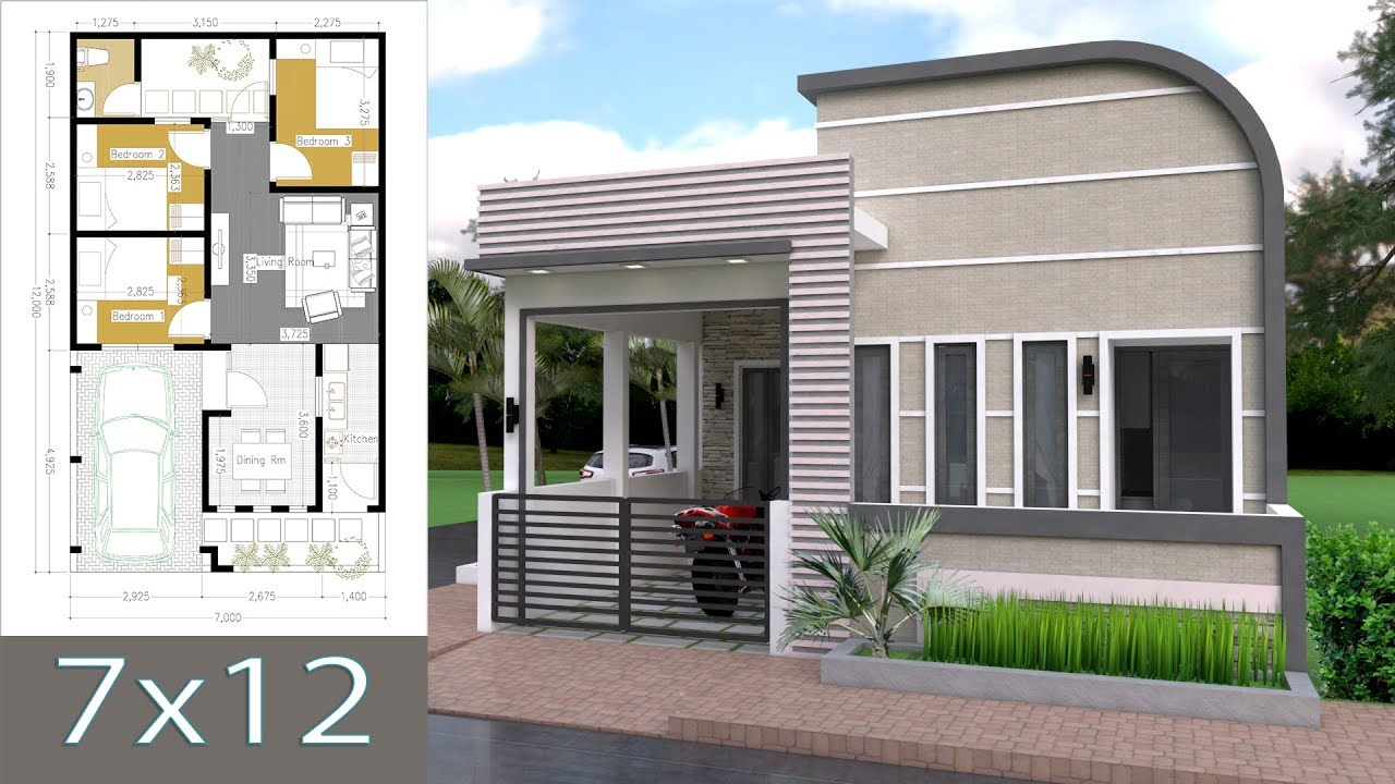 Sketchup One Story House With 3 Bedroom 7x12m Youtube