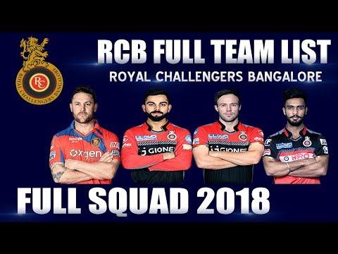 IPL 2018 ● RCB Full Squad ● Official Full Team List ● Royal Challenger Bangalore ● Kohli ABD