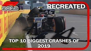 F1 2019 GAME: RECREATING THE TOP 10 BIGGEST CRASHES OF 2019
