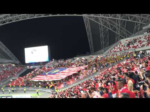 AFF Suzuki Cup 2014. Singapore vs Malaysia. National Anthems.