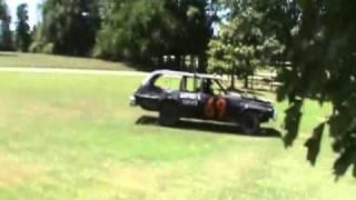 Running my Demoliton Derby Car through a rail fence