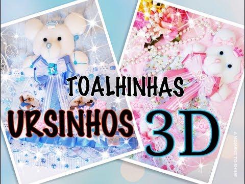 Toalhinhas personalizadas com ursinhos 3D