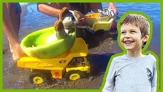 Toy Dump Trucks Launch Melon Boats