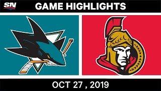 NHL Highlights   Sharks vs. Senators – Oct. 27, 2019