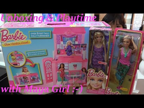Barbie Glam Vacation House Unboxing & Playtime + 2 New more Barbie Dolls