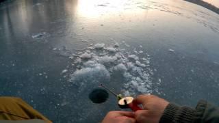 Зимняя рыбалка. Вечерний клев окуня.