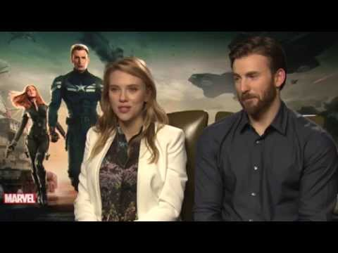 Scarlett Johansson and Chris Evans on 'Captain America: The Winter Soldier'