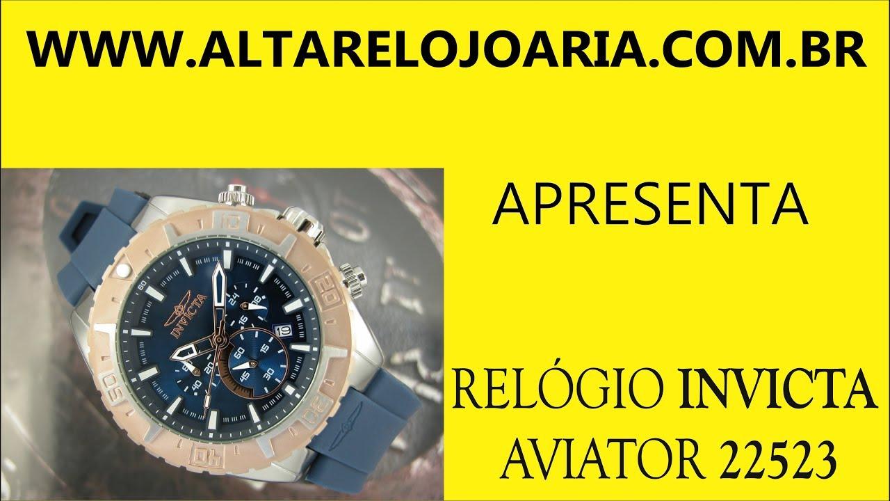 aaebdeb5781 Relógio Invicta Cronógrafo Aviator 22523 Azul - YouTube