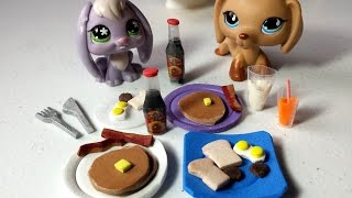 How to Make LPS Food - Breakfast Pancakes, Syrup Bottle, & More: Doll DIY