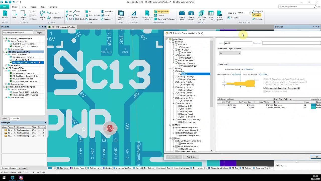 Altium Circuit Studio - 50 ohm traces on 2 layer PCB