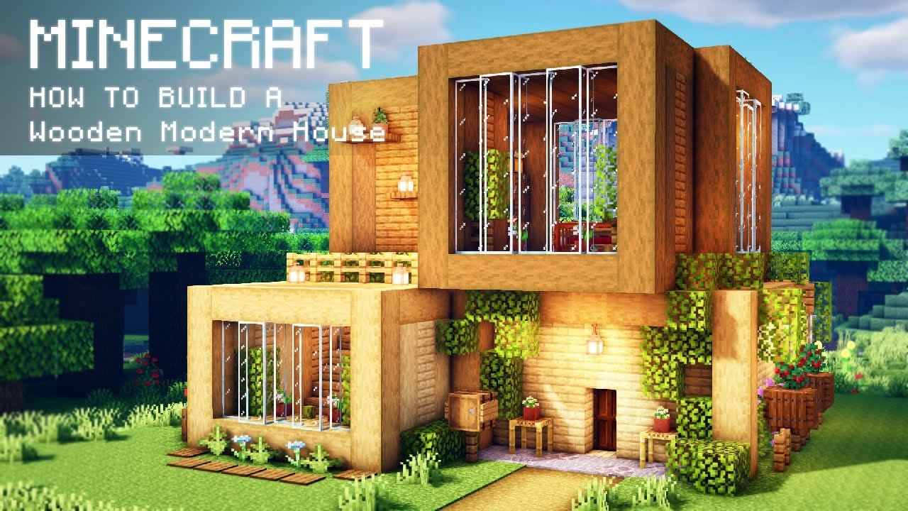 Minecraft How To Build A Wooden Modern House Youtube