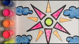 Glitter Sun and Clouds Coloring and Drawing for Kids/ Toddlers - Yuppie Yup