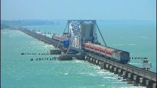 Train on Water || Train crossing Sea || World most Dangerous Pamban Sea Rail Bridge